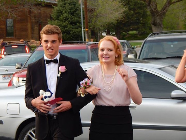 Lone Peak High School juniors Tyler Hanks and Audrey Rhodes arrive at Audrey's prom event. (Photo courtesy Midge Rhodes)