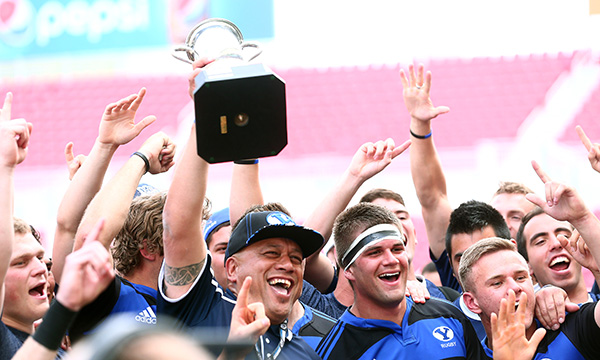 The Cougars celebrate their fourth consecutive rugby national championship win Saturday at Rio Tinto Stadium. (Photos by Aaron Cornea/BYU Photo)