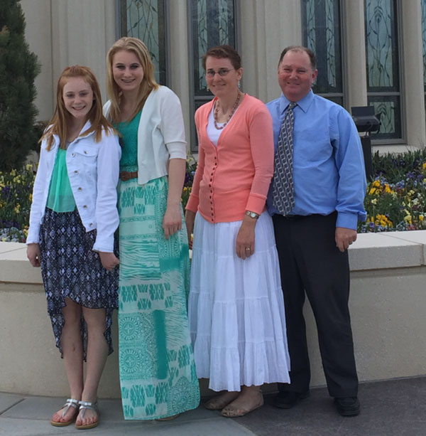 From left to right: LeAnn, BrookLynn, Holly and Jon Ellis attend the Payson Utah Temple Open House. (Photo courtesy Holly Ellis)