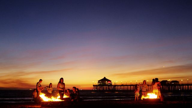End the day at Huntington Beach with a bonfire at one of the beach's fire rings. (Photo courtesy of Visit Huntington Beach)