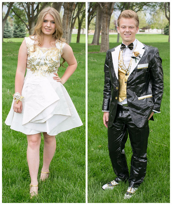 Bekah Mecham and Wyatt Burns spent one month making a dress and tux out of Duck Tape for prom. They are Top 10 finalists in the Stuck on Prom Scholarship Contest. (Photo courtesy Bekah Mecham)