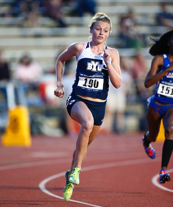 Kelsey Brown-Gilbert races at the NCAA Regional meet at Austin on May 29th. Brown-Gilbert qualified for nationals with a season-best time of 2:05.55 in the 800 meters. (Photo by Jaren Wilkey/ BYU Photo)