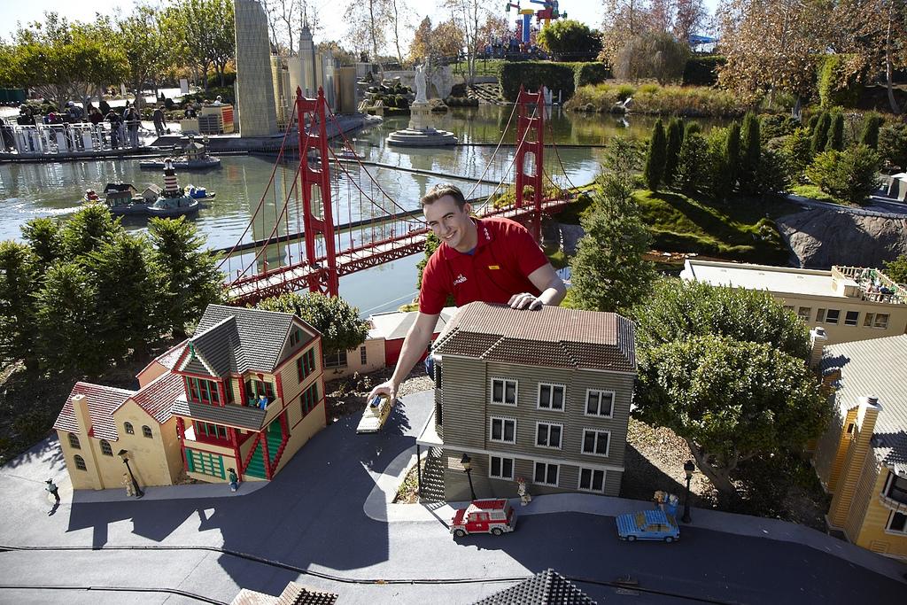 A LEGOLAND employee sets up part of mini-San Francisco in Miniland USA, one of the areas to explore in LEGOLAND California. (Photo courtesy of LEGOLAND California)