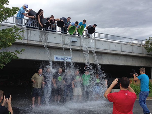 Ice, Ice, Baby. Solutionreach executives (and bucket-happy employees) participated in the ALS ice bucket challenge.