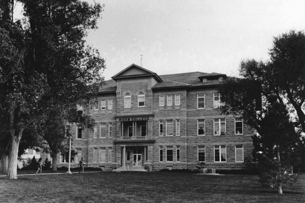The Jacob Spori Building stood on the Ricks College campus, but was destroyed in a fire and subsequently rebuilt. (1988 photo via public domain.)