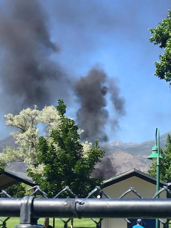 Fireworks started a fire in SCERA Park. (Photo courtesy Orem city)