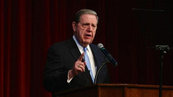 Elder Jeffrey R. Holland of the Quorum of the Twelve Apostles discussed the issues of faith, family and religious freedom on the campus of Chapman University on February 26, 2015. (Photo courtesy Mormon Newsroom.)