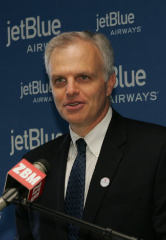 JetBlue Airways Chairman and former CEO David Neeleman speaks at Bermuda International Airport on the occasion of the Inaugural Flight from JFK to BDA. (Photo by James G. Howes.)