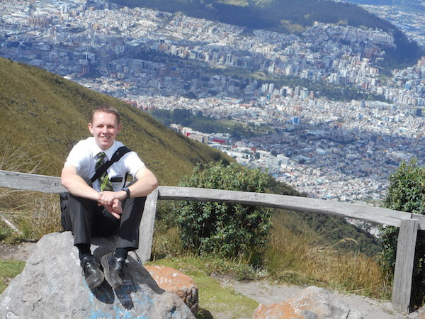 Ryan Call, a missionary serving in the Ecuador Quito North Mission, sits overlooking Quito, (Photo courtesy Jeff Call)