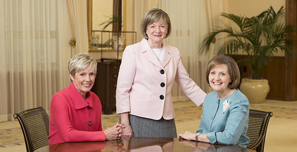 Three LDS women were invited to join Priesthood leadership councils, previously only made up with men. From left: Sister Rosemary Wixon, General Primary President; Sister Bonnie Oscarson, Young Women General President; and Sister Burton, Relief Society General President. (Photo courtesy LDS Church)