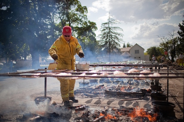 Firefighters help cook the Payson Salmon Supper. (Photo courtesy Payson city)