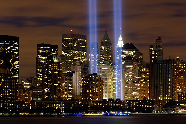 The lights at Ground Zero represent the Twin Towers that fell from terrorists attacks on Sept. 11, 2001.