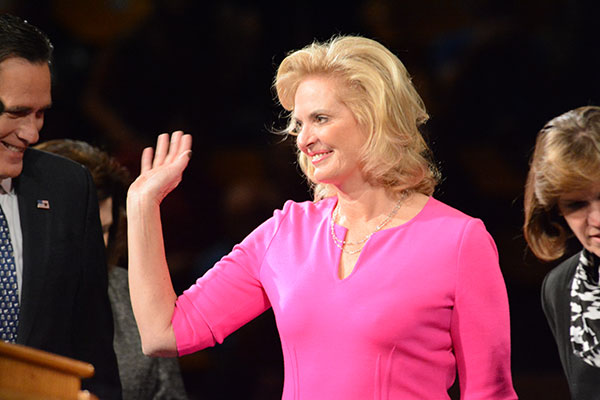 Ann Romney waves to the crowd at BYU's Marriott Center. (Photo by Matt Bennett)