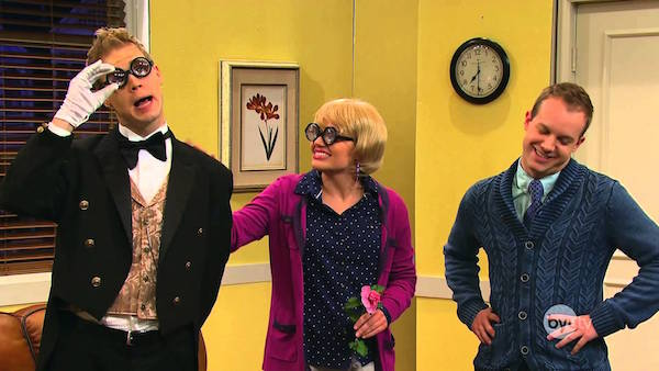 "Stephen Perry (left) performs as his character Lobster Bisque for an episode of ""Studio C"" with castmates Mallory Everton and Stephen Meek. Perry is spending one night with ImprovBroadway this Friday. (Photo courtesy BYUtv)"