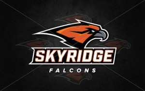 The Skyridge Falcons logo for the new Lehi high school uses the school colors — burnt orange and steel gray. (Photo courtesy Skyridge High School)