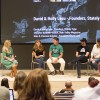 """Jeanette Bennett, editor of Utah Valley Magazine and Utah Valley BusinessQ, moderates a panel on """"Sleeping with your business partner: Husband-wife duos,"""" at StartFEST Tuesday. Panelists, left to right:"""