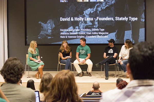 "Jeanette Bennett, editor of Utah Valley Magazine and Utah Valley BusinessQ, moderates a panel on ""Sleeping with your business partner: Husband-wife duos,"" at StartFEST Tuesday. Panelists, left to right:"
