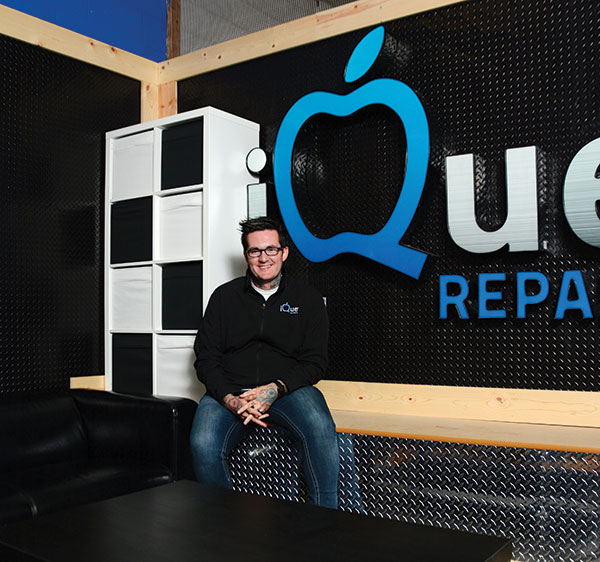 """MR. FIX-IT KC Kelly is a fixer. He grew up in a """"heavy, broken home"""" — and moved out at 16 to support himself. At 20, he lost his job —and became an entrepreneur. His company, iQue Repair, fixes our most-prized technology. """"My parents made a lot of crappy decisions, but despite that, my mom always told me I could be anything I wanted to be,"""" he says. """"Obstacles are just obstacles. Nothing will ever hold me back."""" (Photo by Dave Blackhurst)"""