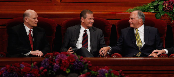 Elder Dale G. Renlund (left) and Elder Gary E. Stevenson (center) and Elder Ronald A. Rasband were named as the three newest apostles to the Quorum of the Twelve Apostles during the afternoon session of general conference on Oct. 3, 2015. (Photo courtesy LDS Church)