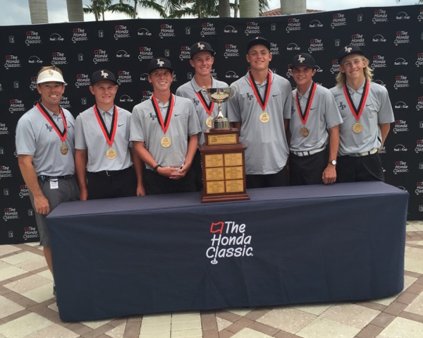 Lone Peak's golf team stands with their trophy at the Honda Classic. (Photo courtesy Rob Stanger)