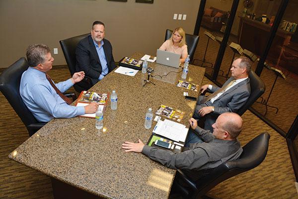Clockwise from left: Mark Lords, Edge Homes; Chris Badger, NOW CFO; Jeanette Bennett, BusinessQ Magazine; Corey Lindley, doTERRA; Rob Lewis, Nudge.
