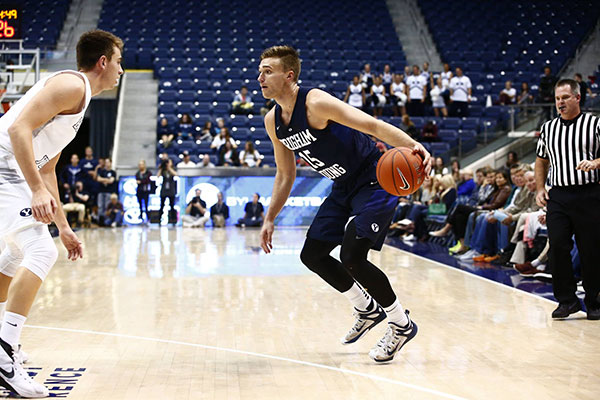 Jake Toolson was the second highest scorer for the Blue team with 16 points in Wednesday night's Papa John's Cougar Exhibition game. (Photo by BYU Photo)