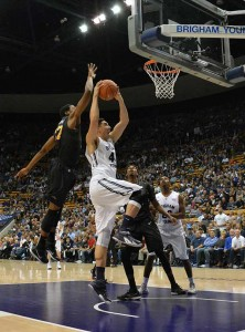 BYU center Corbin Kaufusi takes the ball to the basket in a game last season. (Photo by Rebecca Lane)