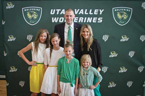 """Lee Anne Pope plays a big part in the professional success of her husband, new UVU basketball coach Mark Pope. With a commitment to the Wolverines, the Popes (including daughters Ella, Avery, Layla and Shay) are vocal ambassadors for all things green. Lee Anne's first """"letterman"""" was David Letterman — who she assisted in New York and beyond.  (Photo courtesy UVU)"""