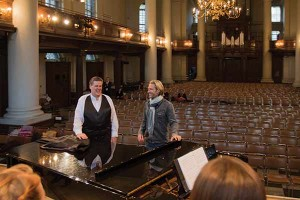 "First collaboration with composer Eric Whitacre. ""Eric snuck in while we were rehearsing one of his pieces, and when we finished, I turned around and saw him lying on his back like da Vinci's Vitruvian Man,"" Dr. Staheli says. ""He loved our sound from the start."" Other firsts include performing in Carnegie Hall and BYU Singer's first album, ""We Sing of Christ: The Songs of Zion."""