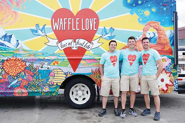 "Adam Terry, left, opened Waffle Love after he lost his job. Just three years later, he and his brothers, Jared and Steven, center and right, made it big on Food Network's ""The Great Food Truck Race."" (Photo courtesy Food Network)"