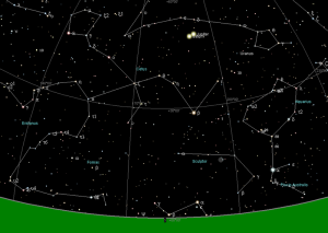 One theory of the Star of Bethlehem suggests it was the alignment of two or three planets that gave the appearance of a single bright star. This image shows one scientist's calculation of what the night sky might have looked like over Jerusalem at or shortly after the Savior's birth.