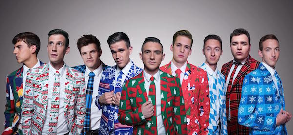 The 2015-16 BYU Vocal Point group poses in their Christmas suits. BYU Vocal Point, Peter Hollens and Ryan Innes are recording a free Christmas concert at Thanksgiving Point on Oct. 18. (Photo courtesy BYU Vocal Point)