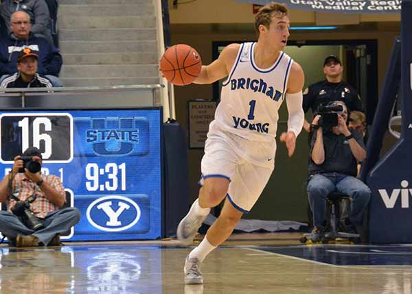 BYU senior Chase Fischer scored 24 points in the game against Utah State, but he attributes his success to his defensive efforts. (Photo by Rebecca Lane)
