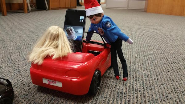 The Orem Police Department has been reenacting some of their traffic stops with Elf on the Shelf. (Photo courtesy Orem Police Department)