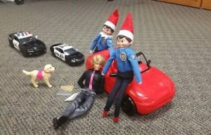 The first Elf on the Shelf reenactment was of a traffic stop where Officer Newell and his K-9 partner, Marco, searched a car and found the man's meth and heroin. (Photo courtesy Orem Police Department)
