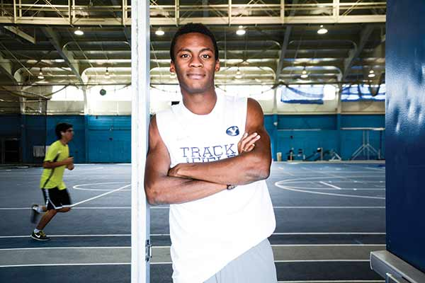 A junior studying exercise science, Shaquille Walker went from not knowing that colleges recruited for track to becoming one of BYU's top runners. (Photo by Alisha Gallagher)
