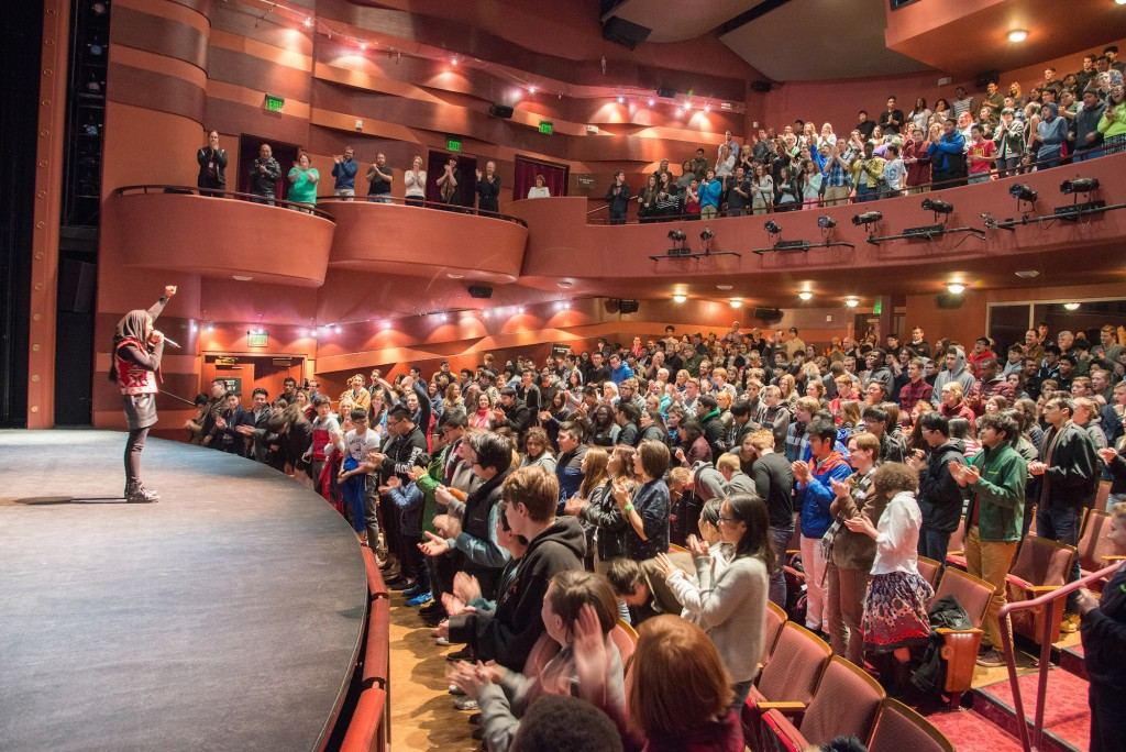 Utah students and educators give a standing ovation to Iranian rapper Sonita, who is the subject of a documentary in this year's Sundance Film Festival, as part of the Utah Student Screening Series. (Photo courtesy of Sundance Film Festival)