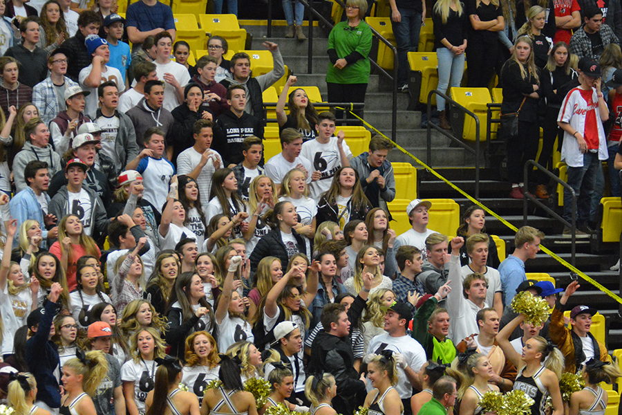 Lone Peak's student section had a good night as the Knights jumped out to a lead and never fell behind Friday night at UVU's UCCU Center.