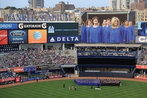 As the shortest soprano in the Mormon Tabernacle Choir, Paula is rarely highlighted in the broadcast performances from Temple Square. So she was excited to see this photo of her, featured prominently on the Jumbotron in a performance at Yankee Stadium during an East Coast tour in the summer of 2015.