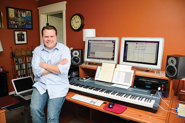 Musician Tyler Castleton has been writing and composing songs for more than 20 years, and he knows inspiration can strike any time. He keeps a notebook in the passenger side of his car to capture passing ideas for music or lyrics. (Photo by Alisha Gallagher)