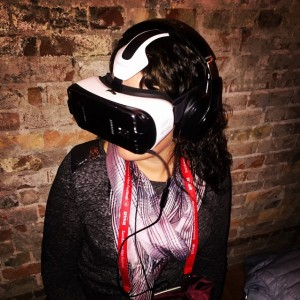 Writer Christa Woodall demos virtual reality goggles at New Frontier during the 2015 Sundance Film Festival. (Photo courtesy of Christa Woodall)