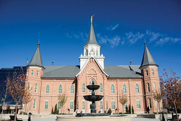 Temple's Architectural Digest Provo Tabernacle was originally designed in Victorian Gothic style. The bricks on the Provo City Center Temple are the original bricks from the Provo Tabernacle. The Angel Moroni now stands on the central tower that was removed in 1917 due to structural problems. (Photo by Alisha Gallagher)