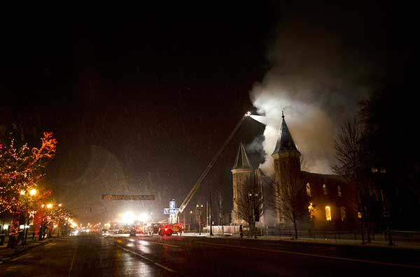 The Provo Tabernacle fire began around 2:43 a.m. on a snowy December evening in 2010. (Photo courtesy LDS Church)