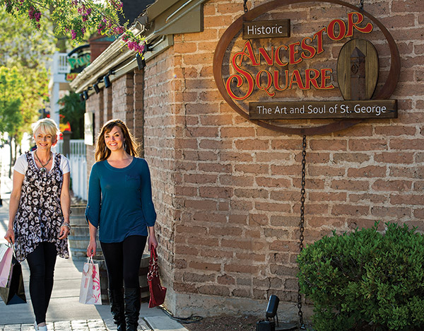 Ancestor Square is a revitalized area of downtown St. George that includes more shopping options — as well as restaurants and art galleries. (Photo by Dave Becker)
