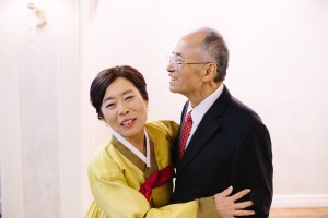 SooYoung and OckJa look as happy as a newlywed couple at SooYoung's 70th birthday celebration. Photo courtesy of Sarah Tyau.