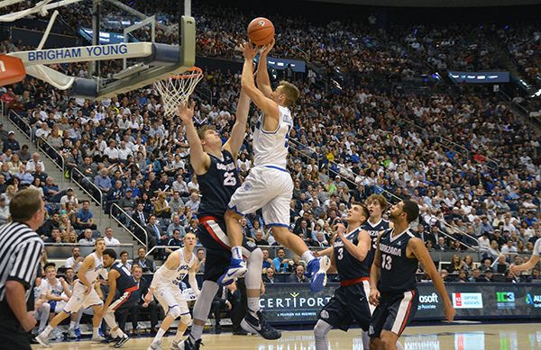BYU senior Kyle Collinsworth earned another double-double —15 point and 15 rebounds — in BYU's loss to Gonzaga Saturday night in the Marriott Center. (Photo by Rebecca Lane)