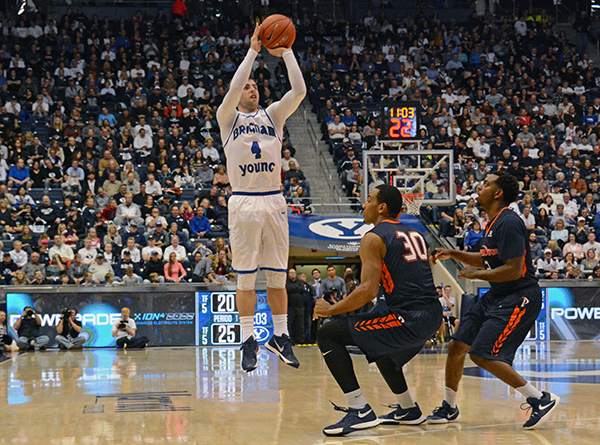 BYU freshman Nick Emery shoots a 3-pointer during a game against Pepperdine. Emery served an LDS mission in Germany before beginning his college career. (Photo by Rebecca Lane)