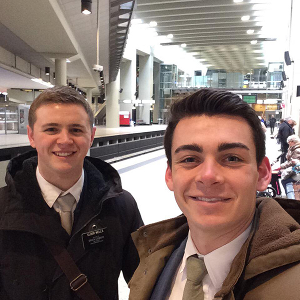 Elder Mason Wells (left) and Elder Joseph Empey were both seriously injured in the bombing at the Brussels airport. (Photo courtesy Chad Wells via Facebook)