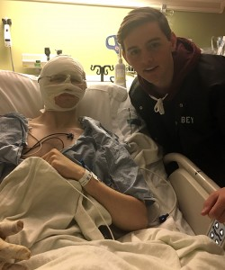 Elder Mason Wells was reunited with his 17-year-old brother, Colby, on Monday at the hospital. (Photo courtesy Kymberly Wells)