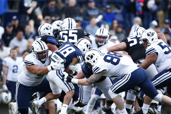 BYU football fans had their first look at new head coach Kalani Sitake's team in the Spring scrimmage on Saturday afternoon. (Photo by BYU Photo)